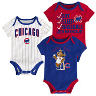 "Chicago Cubs ""Play Ball"" Infant Toddler 3-Pack Baby Creeper Bodysuit Onesie Set"