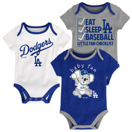 "Los Angeles Dodgers ""Play Ball"" Baby Infant Toddler 3-Pack Creeper Bodysuit Onesie Set"