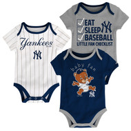 "New York Yankees ""Play Ball"" Baby Infant Toddler 3-Pack Creeper Bodysuit Onesie Set"