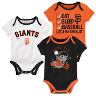 "San Francisco Giants ""Play Ball"" Baby Infant Toddler 3-Pack Creeper Bodysuit Onesie Set"