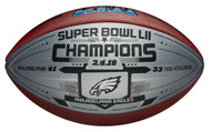Philadelphia Eagles Super Bowl LII Champions Commemorative Wilson Football with Silver Metallic Panel