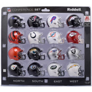 16 NFL Pocket Pro Size Speed Mini Helmets - 2018 AFC Set by Riddell
