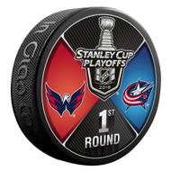 2018 NHL Stanley Cup Playoff Round 1 Washington Capitals vs. Columbus Blue Jackets Dueling Souvenir Puck