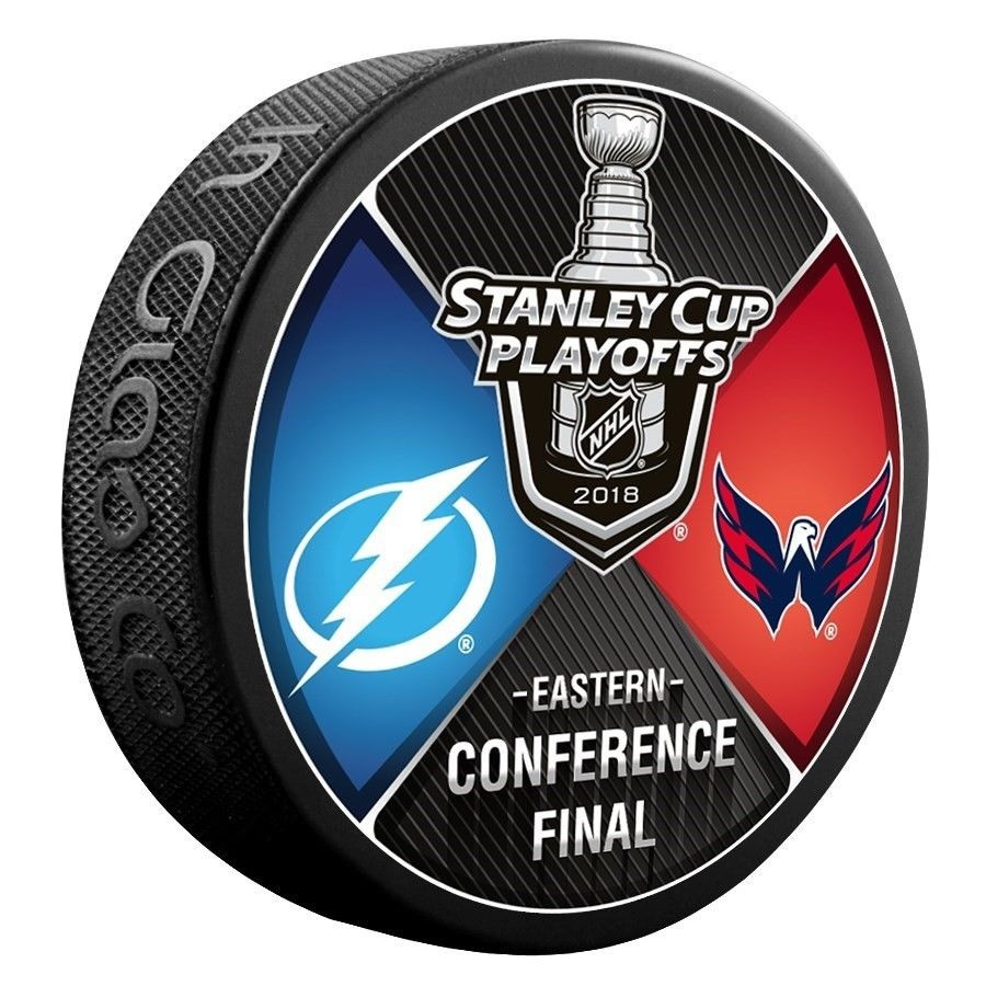 2018 NHL Stanley Cup Playoff Eastern Conference Washington Capitals vs. Tampa  Bay Lightning Dueling Souvenir Puck. Sherwood. Image 1 3d4b6fcc4215