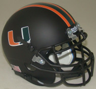 Miami Hurricanes Alternate Matte Black Schutt Mini Authentic Football Helmet