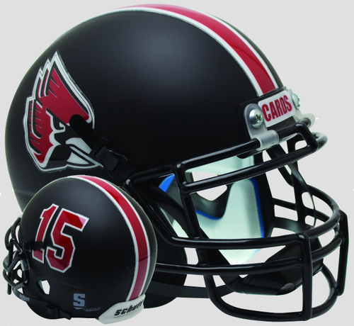 Ball State Cardinals Matte Black Schutt Mini Authentic Football Helmet