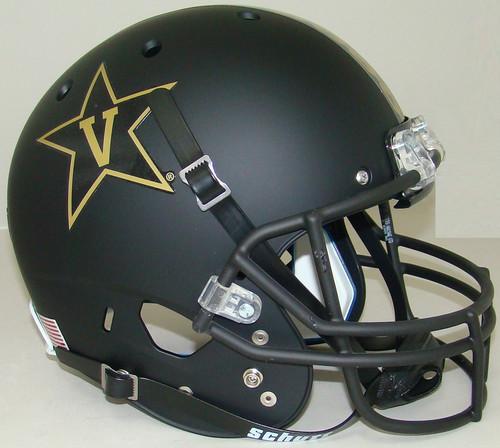 Vanderbilt Commodores Alternate Matte Black with Gold Anchor Schutt Full Size Replica XP Football Helmet