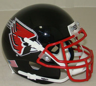 Ball State Cardinals Alternate Black with Red Mask Schutt Mini Authentic Football Helmet