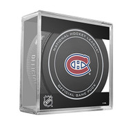 Montreal Canadiens Sher-Wood Inglasco NHL 100th Anniversary Official Hockey Puck in Cube