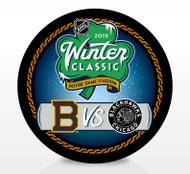 2019 Winter Classic NHL Dueling Inglasco Souvenir Puck - Boston Bruins vs. Chicago Blackhawks