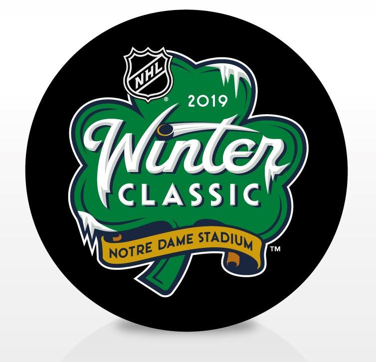 2019 Winter Classic NHL Inglasco Souvenir Puck - Notre Dame Stadium.  Inglasco. Image 1 03c67d37d