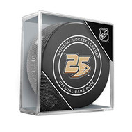 Anaheim Ducks Inglasco 25th Anniversary Official Hockey Puck in Cube