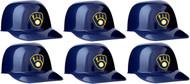 Milwaukee Brewers MLB 8oz Snack Size / Ice Cream Mini Baseball Helmets - Quantity 6