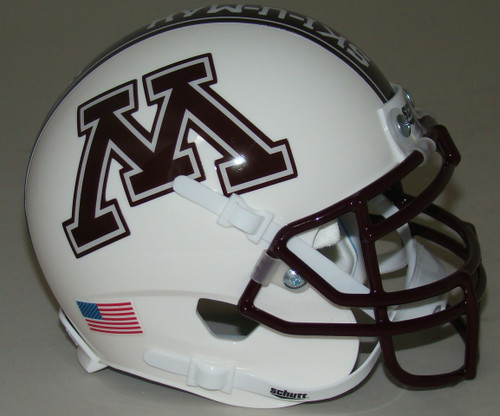 "Minnesota Golden Gophers Alternate White ""Row the Boat"" Schutt Mini Authentic Football Helmet"