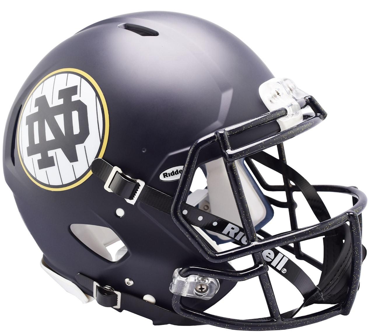 5a73fc07 Notre Dame Fighting Irish 2018 Shamrock Series Matte Navy Authentic Full  Size Speed Football Helmet