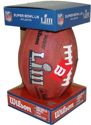 Super Bowl LIII (Fifty-Three) 53 New England Patriots vs. Los Angeles Rams Official Leather Authentic Game Football by Wilson