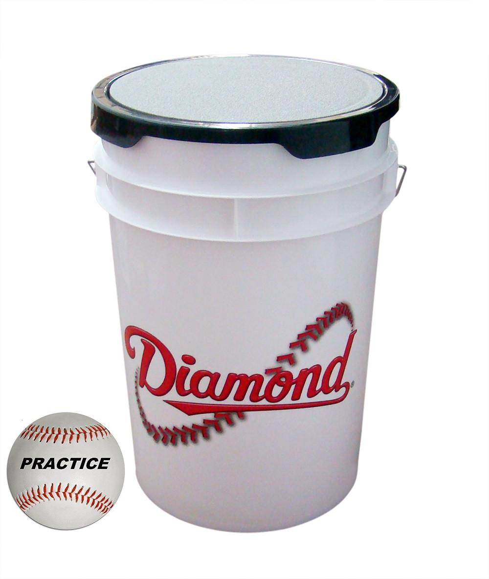 Diamond 6-Gallon White Ball Bucket with 30 Practice Baseballs