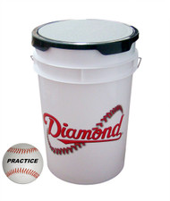 Diamond 6-Gallon White Ball Bucket with 30 Practice Baseballs