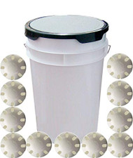 White 6-Gallon Padded Ball Bucket with 30 Wiffle Balls for Practice