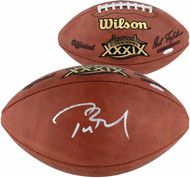 Autographed New England Patriots Tom Brady Authentic Super Bowl 39 XXXIX NFL Football