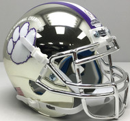 Clemson Tigers Silver Chrome 2018 CFP NCAA National Champions Schutt Authentic Mini Football Helmet