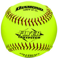 Dozen 12 Inch Leather Cover Fastpitch Softballs, Polyurethane Core, NFHS Stamped, Model 12RFP 47 CL