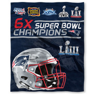 "New England Patriots The Northwest Company 6 X Super Bowl Champions 50"" x 60"" Silk Touch Blanket"