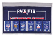 New England Patriots Super Bowl Champions Rafter Raiser Banner for All 6 Super Bowls