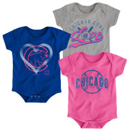 Chicago Cubs Girls Pink Toddler 3-Pack Baby Onesie Bodysuit Creeper Set