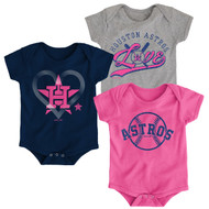 Houston Astros Girls Pink Toddler 3-Pack Baby Onesie Bodysuit Creeper Set