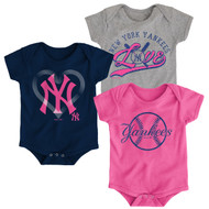 New York Yankees Girls Pink Toddler 3-Pack Baby Onesie Bodysuit Creeper Set
