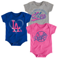 Los Angeles Dodgers Girls Pink Toddler 3-Pack Baby Onesie Bodysuit Creeper Set