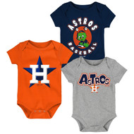 Houston Astros Toddler 3-Pack Baby Onesie Bodysuit Creeper Set