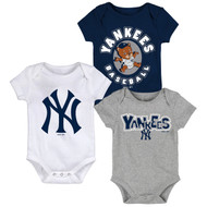New York Yankees Toddler 3-Pack Baby Onesie Bodysuit Creeper Set