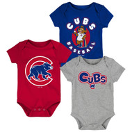 Chicago Cubs Toddler 3-Pack Baby Onesie Bodysuit Creeper Set