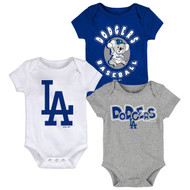 Los Angeles Dodgers Toddler 3-Pack Baby Onesie Bodysuit Creeper Set