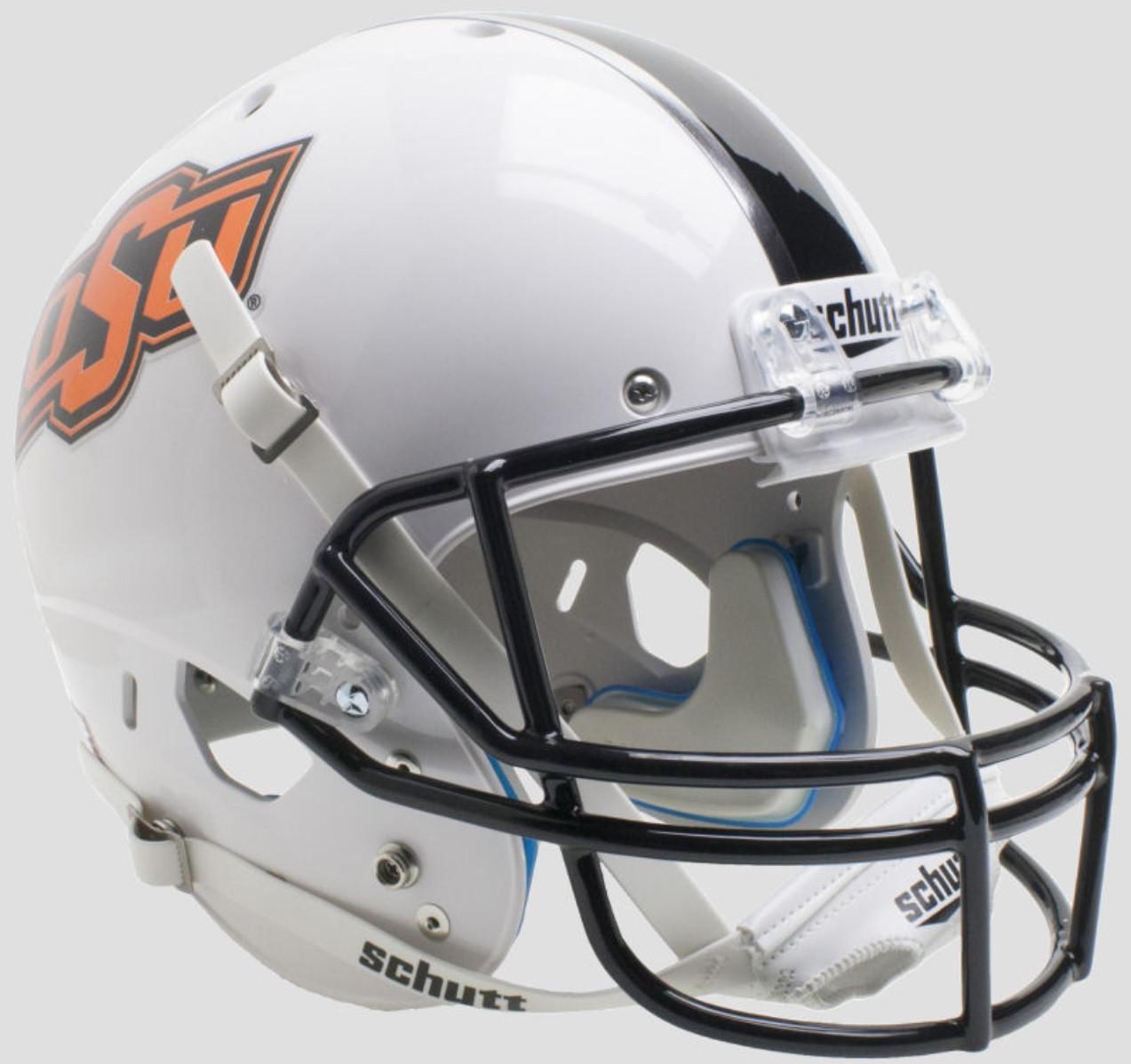 finest selection 08119 4478e Oklahoma State Cowboys White with Chrome OSU logo Schutt Full Size Replica  Football Helmet