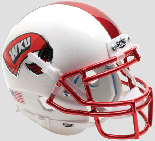 Western Kentucky Hilltoppers Alternate White Chrome Schutt Mini Authentic Football Helmet