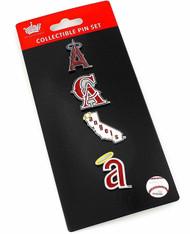 Los Angeles Angels Logo MLB Baseball Evolution 4 Piece Lapel Pin Set
