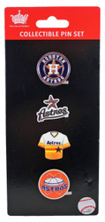 Houston Astros Logo MLB Baseball Evolution 4 Piece Lapel Pin Set