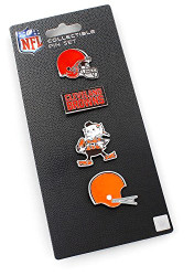 Cleveland Browns Logo NFL Football Evolution 4 Piece Lapel Pin Set