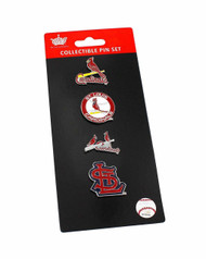 Saint Louis Cardinals Logo MLB Baseball Evolution 4 Piece Lapel Pin Set