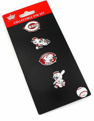 Cincinnati Reds Logo MLB Baseball Evolution 4 Piece Lapel Pin Set