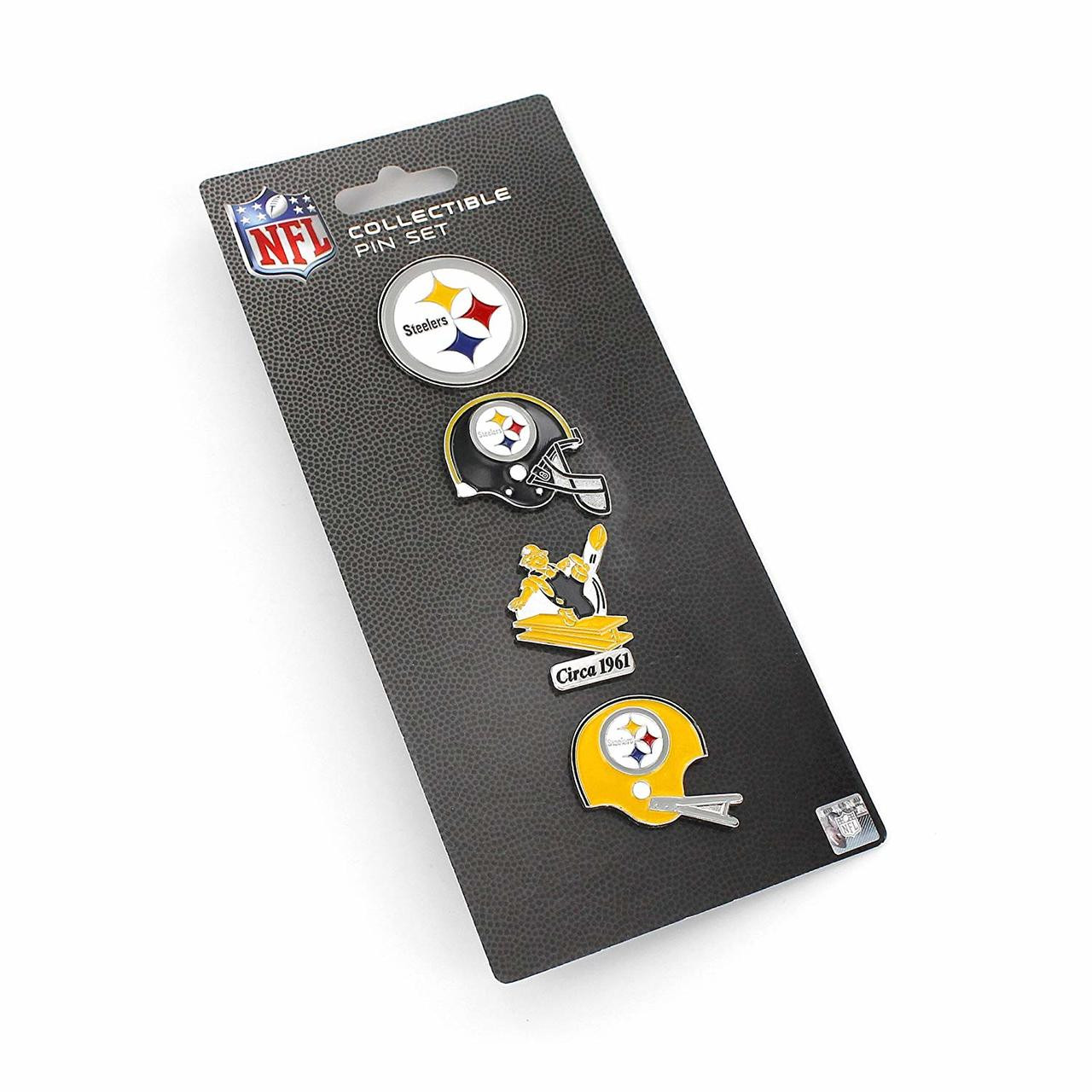 Pittsburgh Steelers Logo NFL Football Evolution 4 Piece Lapel Pin Set