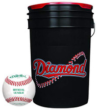 Diamond 6-Gallon Ball Bucket with 30 Leather Grade BLEM Practice Baseballs