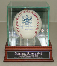Autographed New York Yankees Mariano Rivera Signed 602 Saves Baseball in Hall of Fame Display