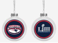 New England Patriots Super Bowl LIII 53 Champions Glass Ball Christmas Tree Ornament
