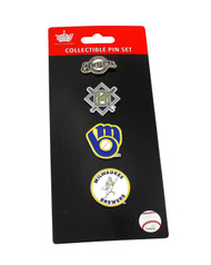 Milwaukee Brewers Logo MLB Baseball Evolution 4 Piece Lapel Pin Set