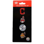 Cleveland Indians Logo MLB Baseball Evolution 4 Piece Lapel Pin Set