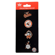 Baltimore Orioles Logo MLB Baseball Evolution 4 Piece Lapel Pin Set